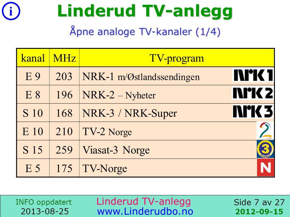 Side 6 av 27 i INFO oppdatert 2013-08-25 www.Linderudbo.no Linderud TV-anlegg 2011-04-25 Canal Digital kundeservice Tel: 06090 Linderud TV-anlegg TV-tjenester: Fellesavtale med -CanalDigital- Pluss-pakke CanalDigital Pluss-pakke er inkludert i fellesutgiftene, dvs.