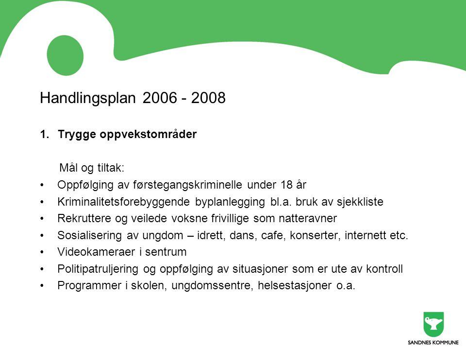 Handlingsplan 2006 - 2008 1.Trygge oppvekstområder Mål og tiltak: •Oppfølging av førstegangskriminelle under 18 år •Kriminalitetsforebyggende byplanle