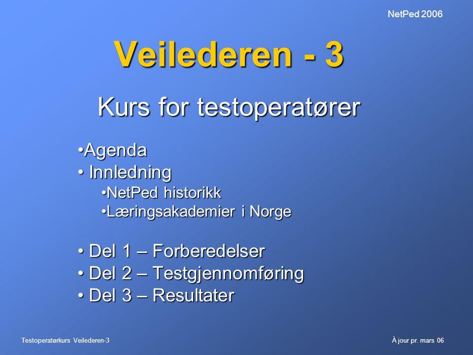 Testoperatørkurs Veilederen-3À jour pr. mars 06 NetPed 2006 Veilederen - 3 Kurs for testoperatører •Agenda • Innledning •NetPed historikk •Læringsakad