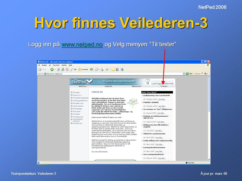 """Testoperatørkurs Veilederen-3À jour pr. mars 06 NetPed 2006 Hvor finnes Veilederen-3 Logg inn på www.netped.no og Velg menyen """"Til tester"""" www.netped."""