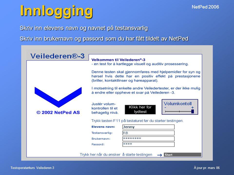 Testoperatørkurs Veilederen-3À jour pr. mars 06 NetPed 2006Innlogging Skriv inn elevens navn og navnet på testansvarlig Skriv inn brukernavn og passor