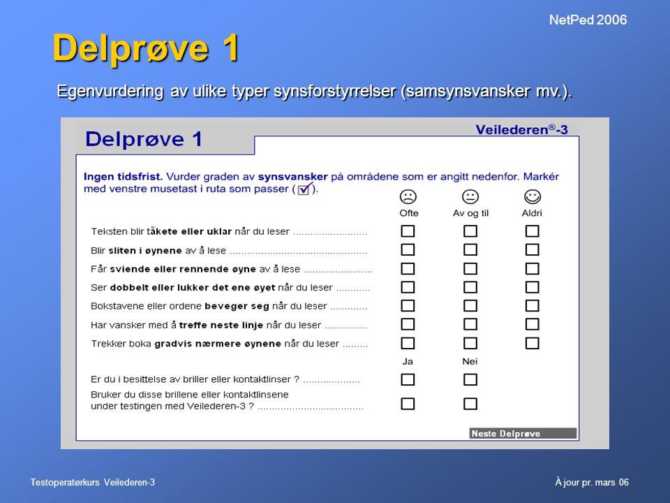 Testoperatørkurs Veilederen-3À jour pr. mars 06 NetPed 2006 Delprøve 1 Egenvurdering av ulike typer synsforstyrrelser (samsynsvansker mv.).
