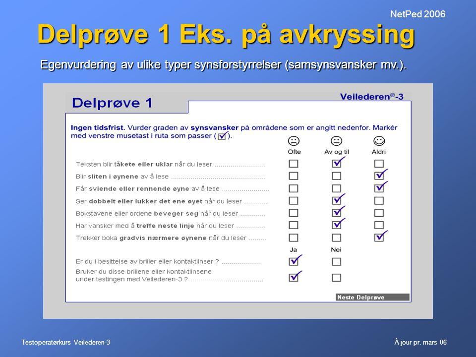 Testoperatørkurs Veilederen-3À jour pr. mars 06 NetPed 2006 Delprøve 1 Eks. på avkryssing Egenvurdering av ulike typer synsforstyrrelser (samsynsvansk