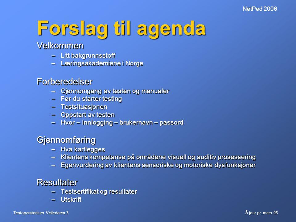 Testoperatørkurs Veilederen-3À jour pr. mars 06 NetPed 2006 Forslag til agenda Velkommen –Litt bakgrunnsstoff –Læringsakademiene i Norge Forberedelser