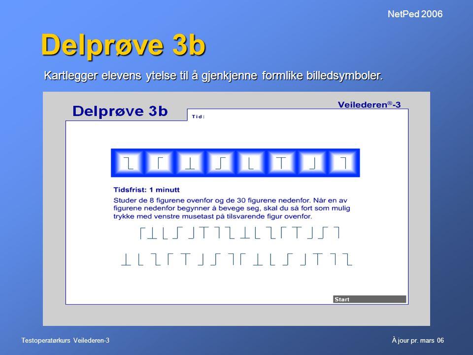 Testoperatørkurs Veilederen-3À jour pr. mars 06 NetPed 2006 Delprøve 3b Kartlegger elevens ytelse til å gjenkjenne formlike billedsymboler.