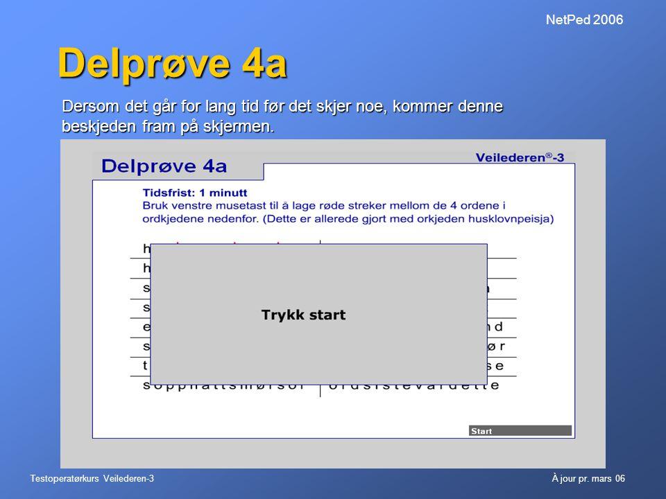 Testoperatørkurs Veilederen-3À jour pr. mars 06 NetPed 2006 Delprøve 4a Dersom det går for lang tid før det skjer noe, kommer denne beskjeden fram på