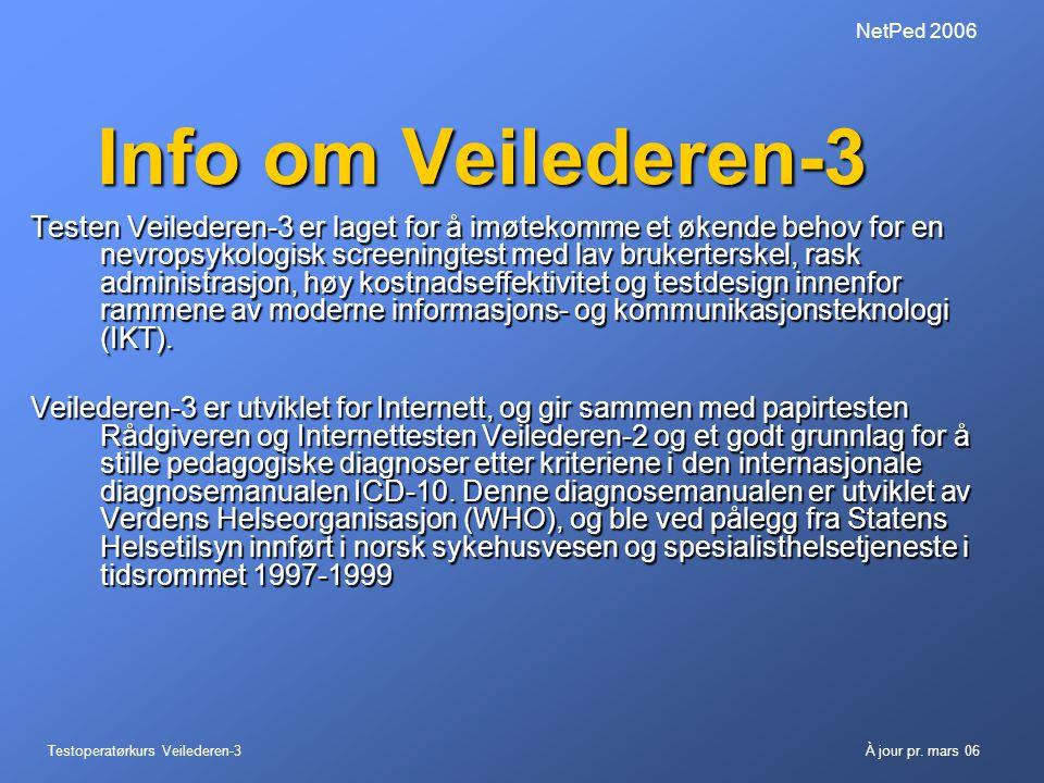 Testoperatørkurs Veilederen-3À jour pr. mars 06 NetPed 2006 Info om Veilederen-3 Testen Veilederen-3 er laget for å imøtekomme et økende behov for en