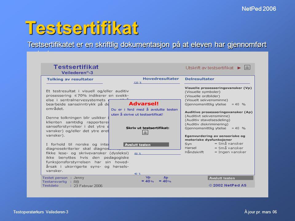 Testoperatørkurs Veilederen-3À jour pr. mars 06 NetPed 2006 Testsertifikat Testsertifikatet er en skriftlig dokumentasjon på at eleven har gjennomført