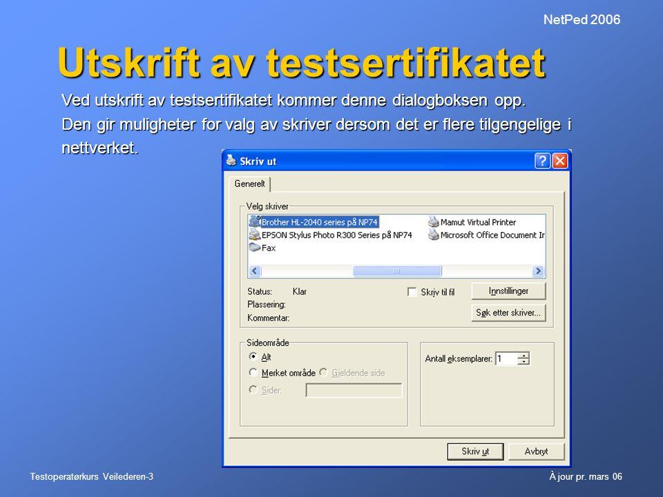Testoperatørkurs Veilederen-3À jour pr. mars 06 NetPed 2006 Utskrift av testsertifikatet Ved utskrift av testsertifikatet kommer denne dialogboksen op