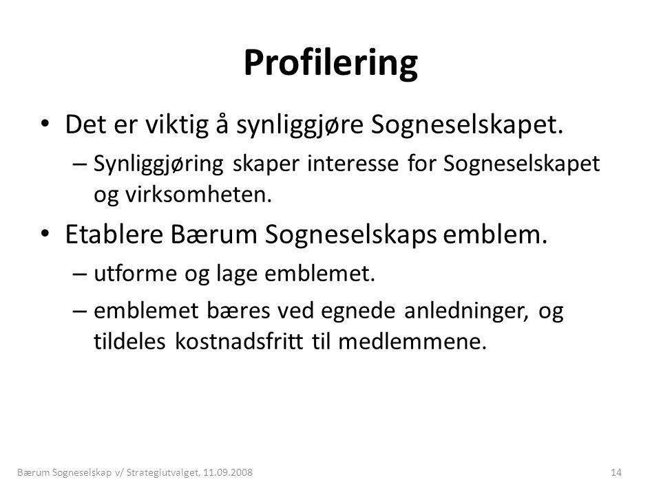 Profilering • Det er viktig å synliggjøre Sogneselskapet. – Synliggjøring skaper interesse for Sogneselskapet og virksomheten. • Etablere Bærum Sognes