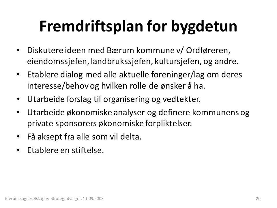 Fremdriftsplan for bygdetun • Diskutere ideen med Bærum kommune v/ Ordføreren, eiendomssjefen, landbrukssjefen, kultursjefen, og andre. • Etablere dia