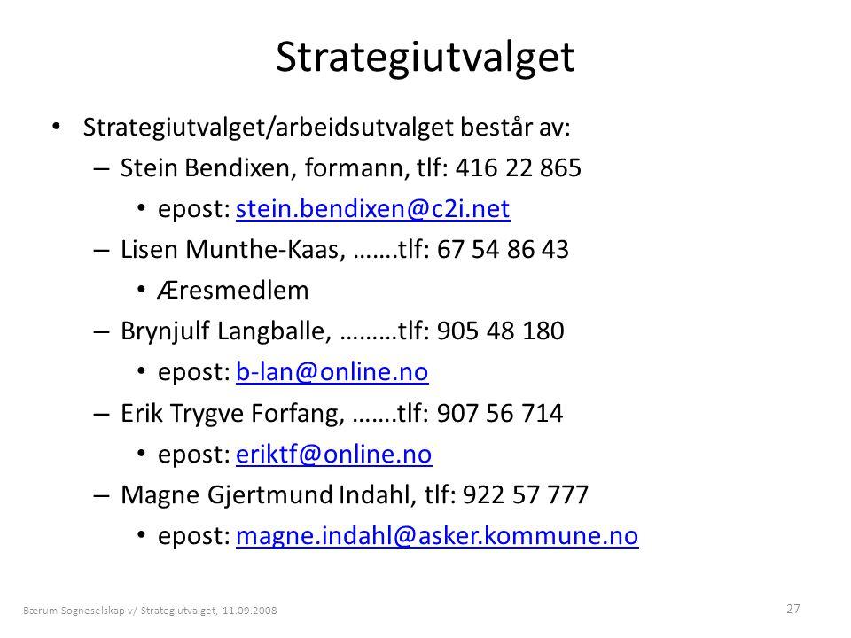 27 Strategiutvalget • Strategiutvalget/arbeidsutvalget består av: – Stein Bendixen, formann, tlf: 416 22 865 • epost: stein.bendixen@c2i.netstein.bend