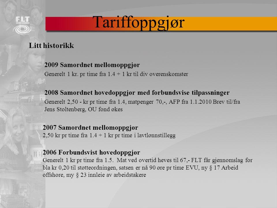 Litt historikk 2009 Samordnet mellomoppgjør Generelt 1 kr.