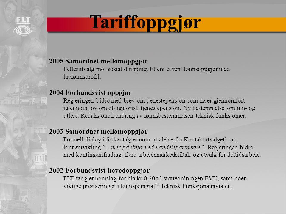 Tariffoppgjør 2005 Samordnet mellomoppgjør Fellesutvalg mot sosial dumping.