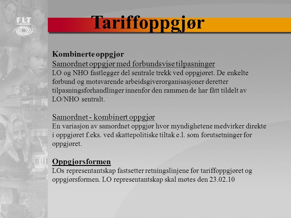 Tariffoppgjør Kombinerte oppgjør Samordnet oppgjør med forbundsvise tilpasninger LO og NHO fastlegger del sentrale trekk ved oppgjøret.