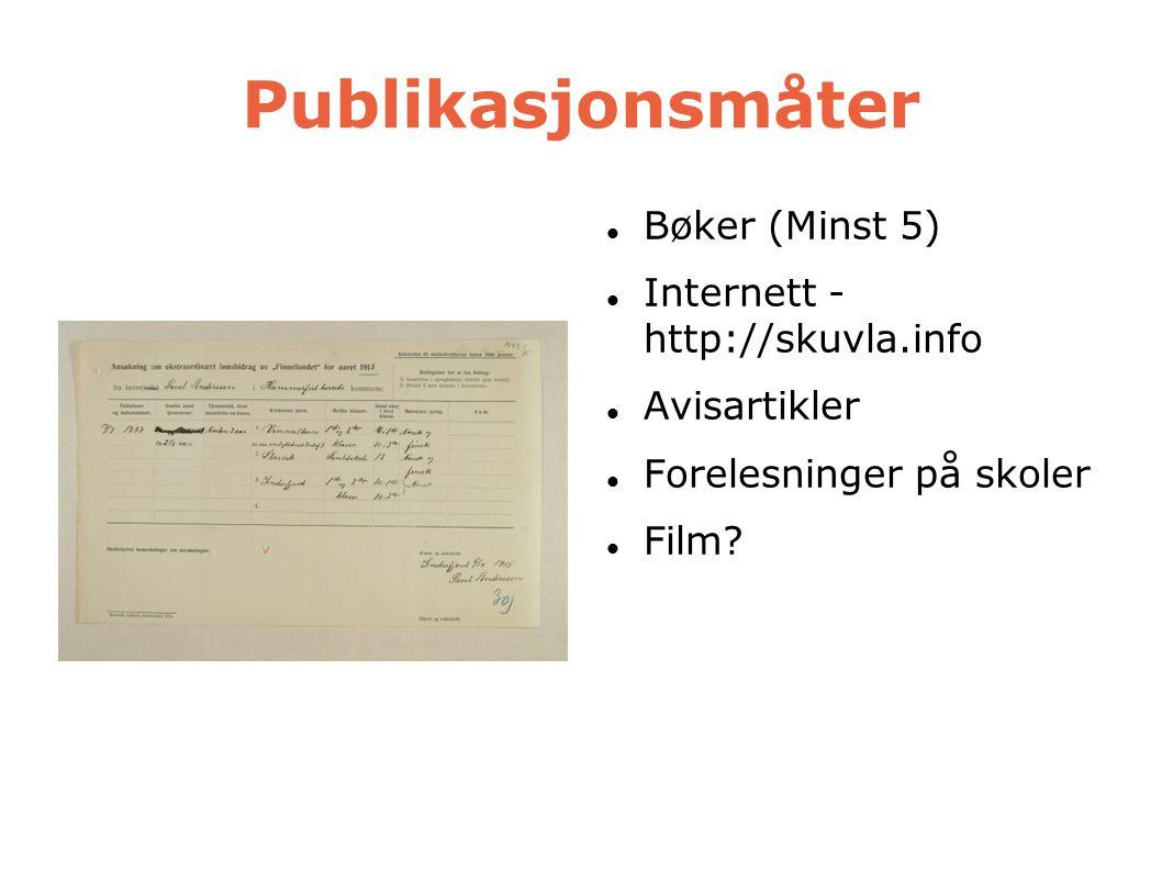 Publikasjonsmåter  Bøker (Minst 5)   Internett - http://skuvla.info  Avisartikler  Forelesninger på skoler  Film