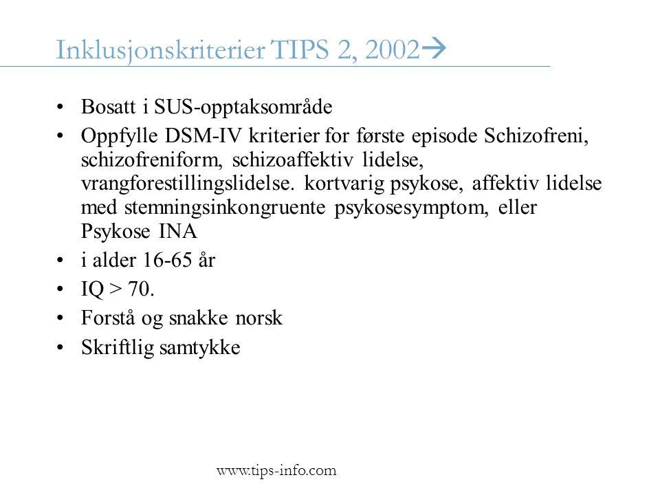 Inklusjonskriterier TIPS 2, 2002  •Bosatt i SUS-opptaksområde •Oppfylle DSM-IV kriterier for første episode Schizofreni, schizofreniform, schizoaffektiv lidelse, vrangforestillingslidelse.