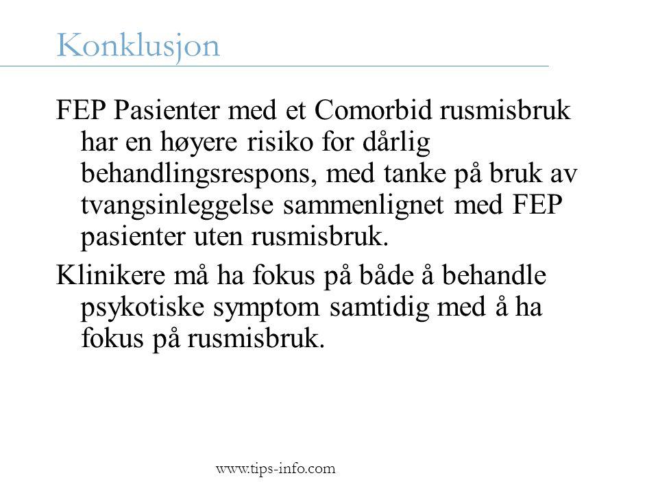 Konklusjon FEP Pasienter med et Comorbid rusmisbruk har en høyere risiko for dårlig behandlingsrespons, med tanke på bruk av tvangsinleggelse sammenlignet med FEP pasienter uten rusmisbruk.