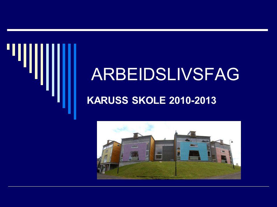 ARBEIDSLIVSFAG KARUSS SKOLE 2010-2013