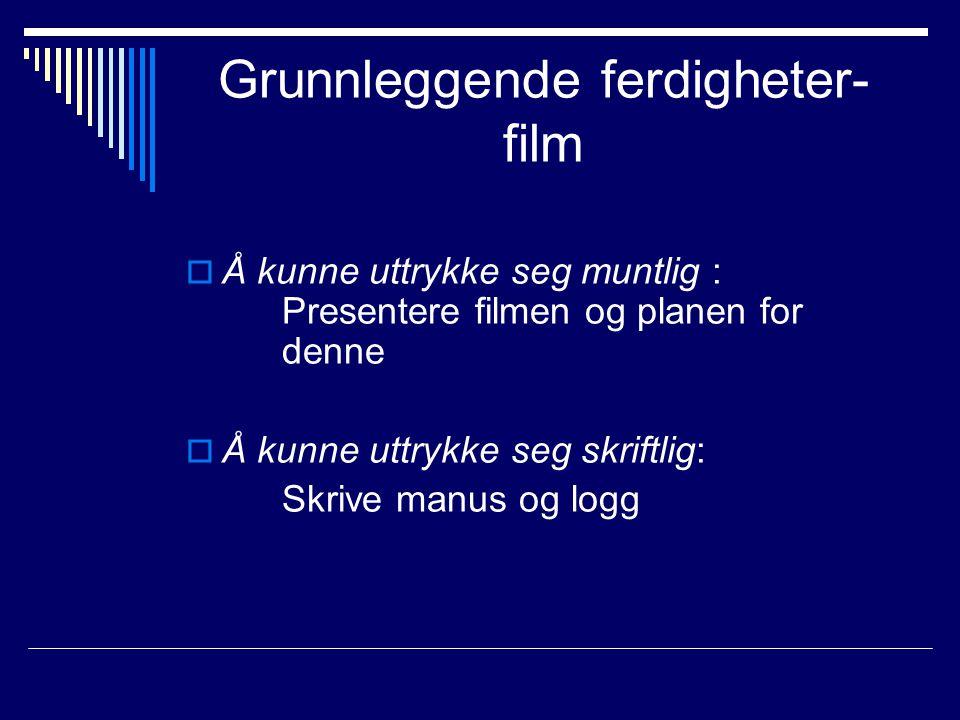 Grunnleggende ferdigheter- film  Å kunne uttrykke seg muntlig : Presentere filmen og planen for denne  Å kunne uttrykke seg skriftlig: Skrive manus
