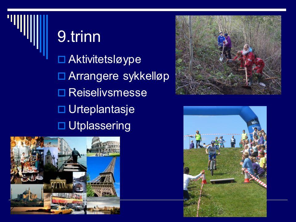 9.trinn  Aktivitetsløype  Arrangere sykkelløp  Reiselivsmesse  Urteplantasje  Utplassering
