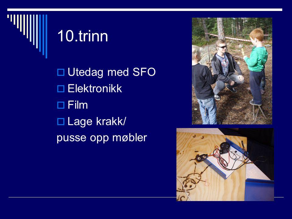 10.trinn  Utedag med SFO  Elektronikk  Film  Lage krakk/ pusse opp møbler