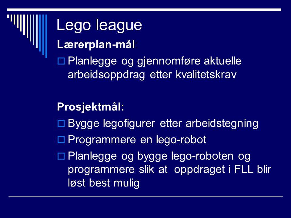Lego league Lærerplan-mål:  Planlegge og gjennomføre aktuelle arbeidsoppdrag etter kvalitetskrav Prosjektmål:  Bygge legofigurer etter arbeidstegnin
