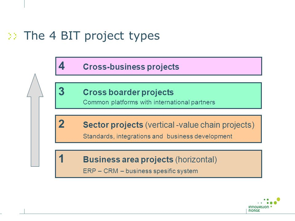 1 Business area projects (horizontal) ERP – CRM – business spesific system 2 Sector projects (vertical -value chain projects) Standards, integrations