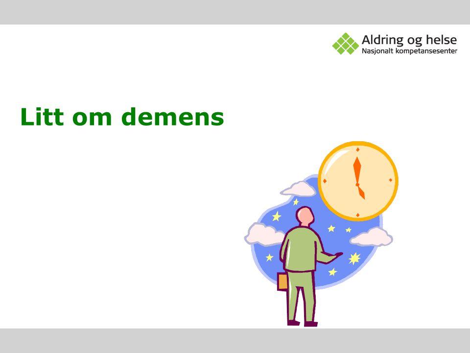 Demens Fellesbetegnelse for en gruppe hjernesykdommer •Demens ved Alzheimers sykdom(AD)60% •Vaskulær demens (VD)20-25% •Frontotemporal demens (FTD)10% •Lewy-legeme demens (LBD) •Andre årsaker: Parkinsons sykdom, stort alkoholmisbruk, infeksjonssykdommer, hjernesvulster og –skader e.