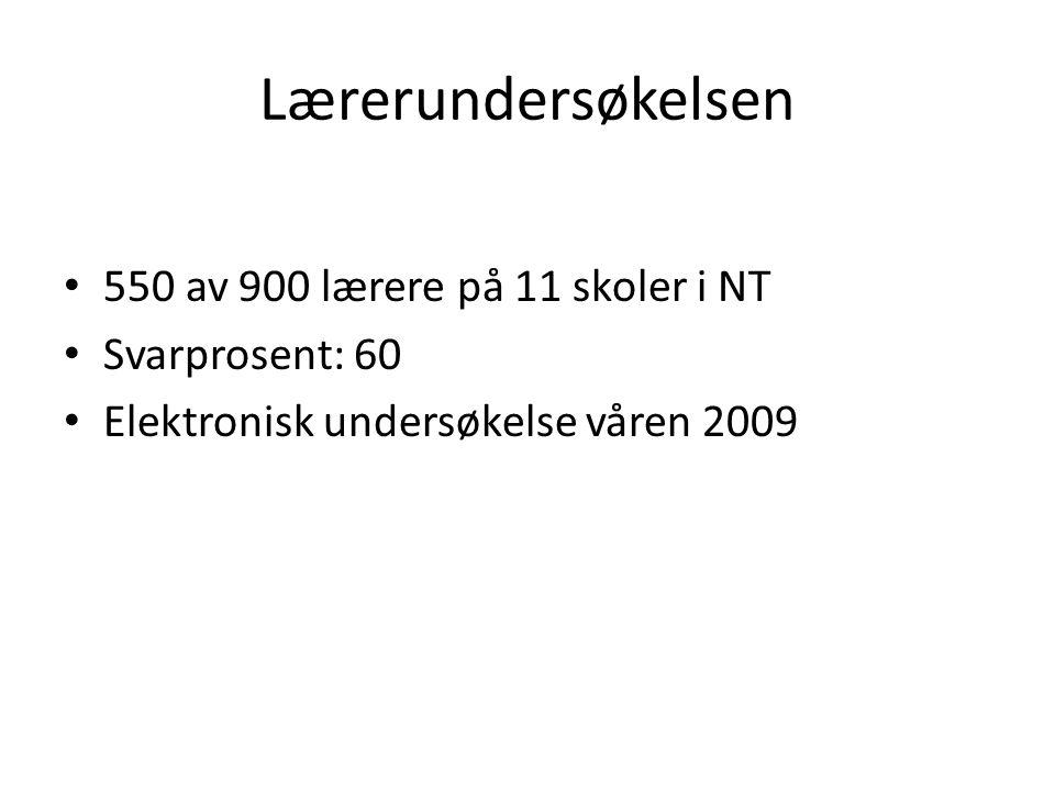 Lærerundersøkelsen • 550 av 900 lærere på 11 skoler i NT • Svarprosent: 60 • Elektronisk undersøkelse våren 2009