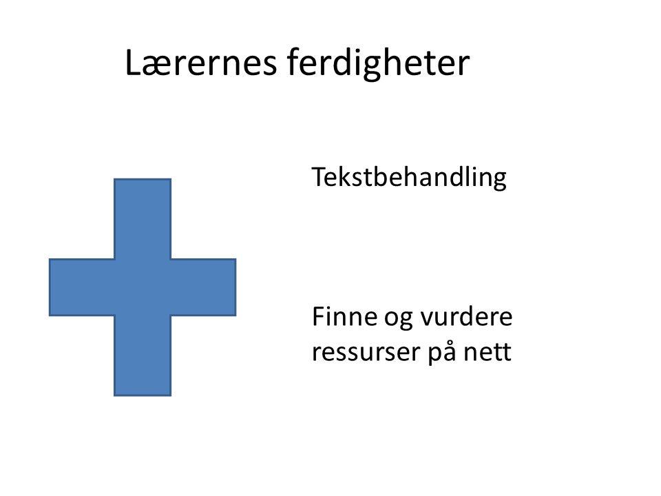Lærernes ferdigheter Tekstbehandling Finne og vurdere ressurser på nett