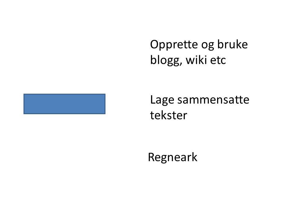 Opprette og bruke blogg, wiki etc Lage sammensatte tekster Regneark