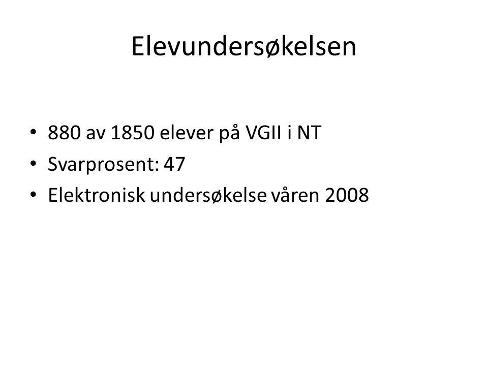 Elevundersøkelsen • 880 av 1850 elever på VGII i NT • Svarprosent: 47 • Elektronisk undersøkelse våren 2008