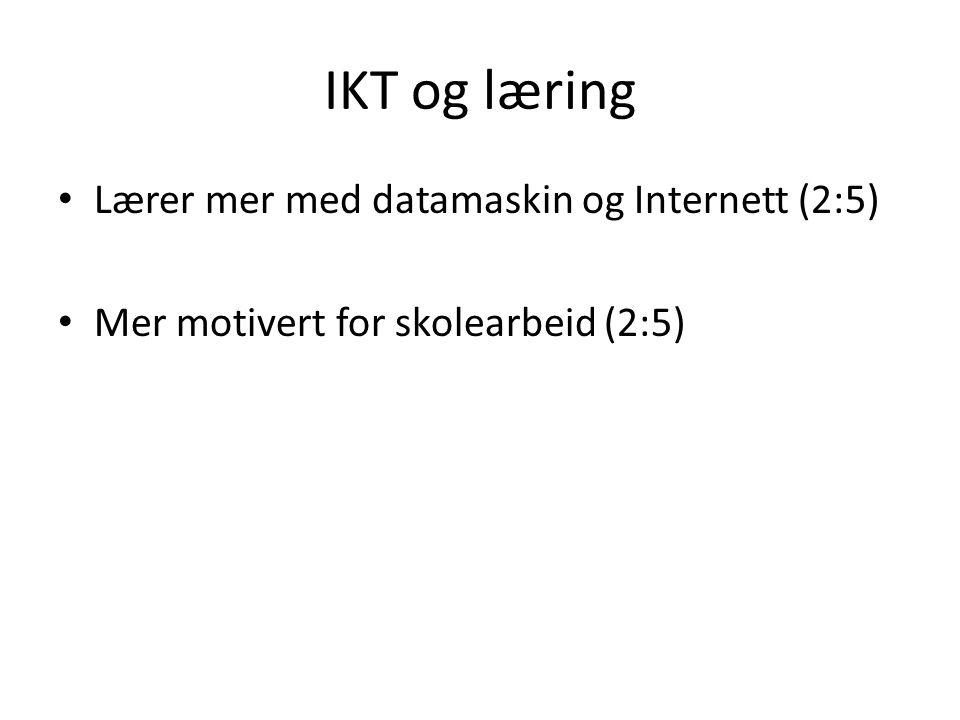 IKT og læring • Lærer mer med datamaskin og Internett (2:5) • Mer motivert for skolearbeid (2:5)