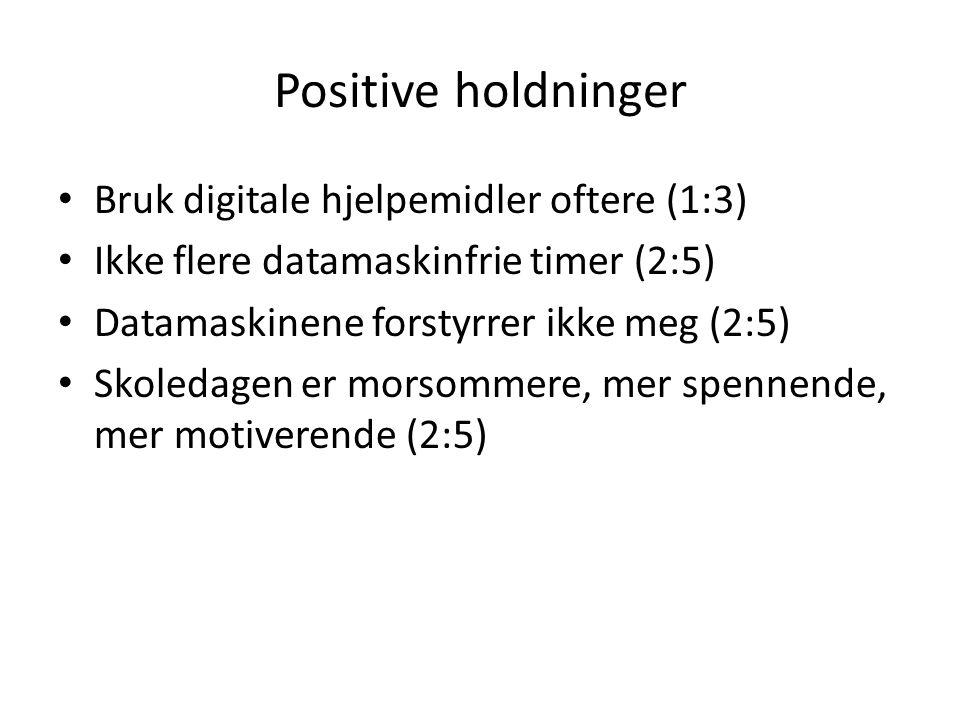 Positive holdninger • Bruk digitale hjelpemidler oftere (1:3) • Ikke flere datamaskinfrie timer (2:5) • Datamaskinene forstyrrer ikke meg (2:5) • Skoledagen er morsommere, mer spennende, mer motiverende (2:5)