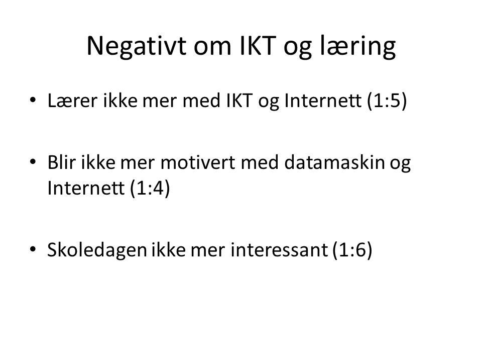 Negativt om IKT og læring • Lærer ikke mer med IKT og Internett (1:5) • Blir ikke mer motivert med datamaskin og Internett (1:4) • Skoledagen ikke mer interessant (1:6)