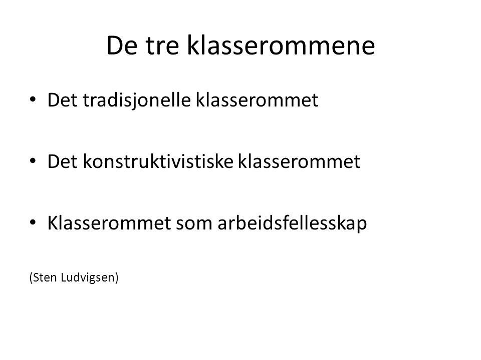 De tre klasserommene • Det tradisjonelle klasserommet • Det konstruktivistiske klasserommet • Klasserommet som arbeidsfellesskap (Sten Ludvigsen)