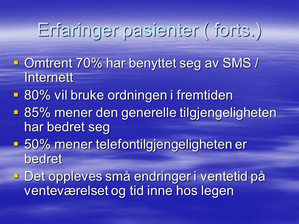 Erfaringer pasienter ( forts.)  Omtrent 70% har benyttet seg av SMS / Internett  80% vil bruke ordningen i fremtiden  85% mener den generelle tilgj
