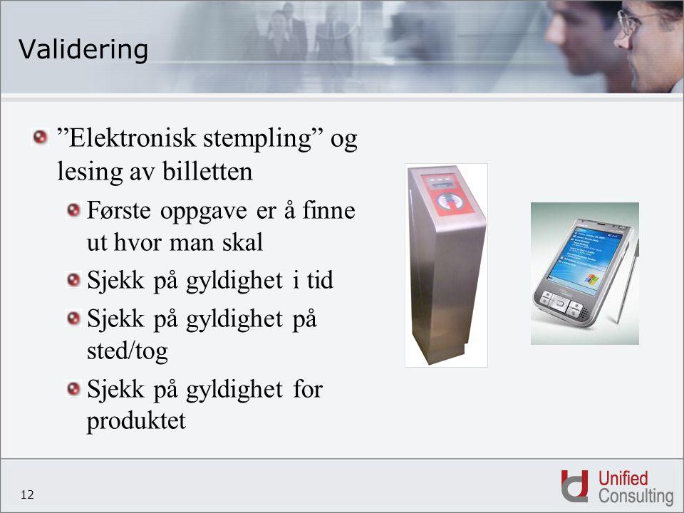 """12 Validering """"Elektronisk stempling"""" og lesing av billetten Første oppgave er å finne ut hvor man skal Sjekk på gyldighet i tid Sjekk på gyldighet på"""