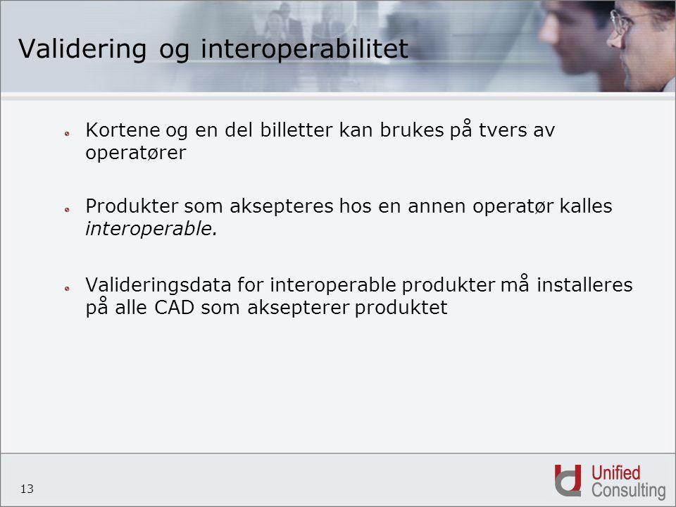 13 Validering og interoperabilitet Kortene og en del billetter kan brukes på tvers av operatører Produkter som aksepteres hos en annen operatør kalles