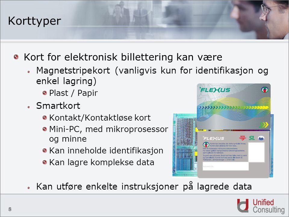 8 Korttyper Kort for elektronisk billettering kan være Magnetstripekort (vanligvis kun for identifikasjon og enkel lagring) Plast / Papir Smartkort Ko
