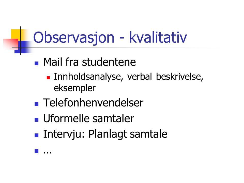Observasjon - kvalitativ  Mail fra studentene  Innholdsanalyse, verbal beskrivelse, eksempler  Telefonhenvendelser  Uformelle samtaler  Intervju: Planlagt samtale ……