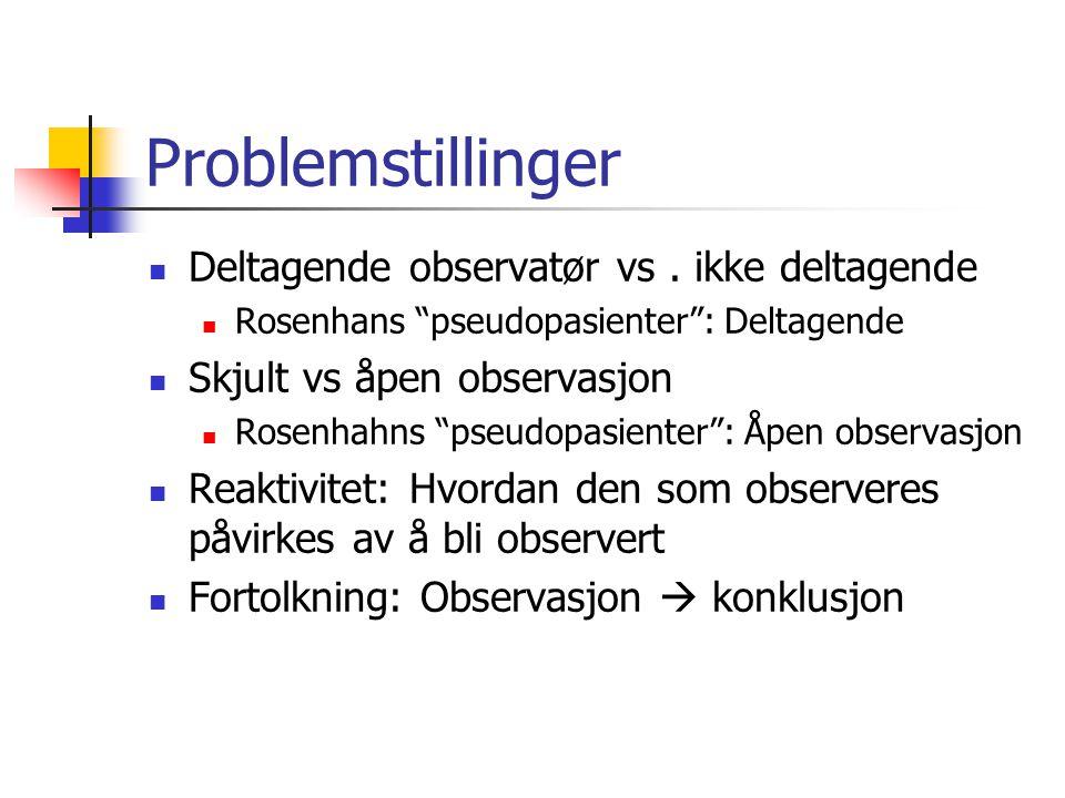 Problemstillinger  Deltagende observatør vs.