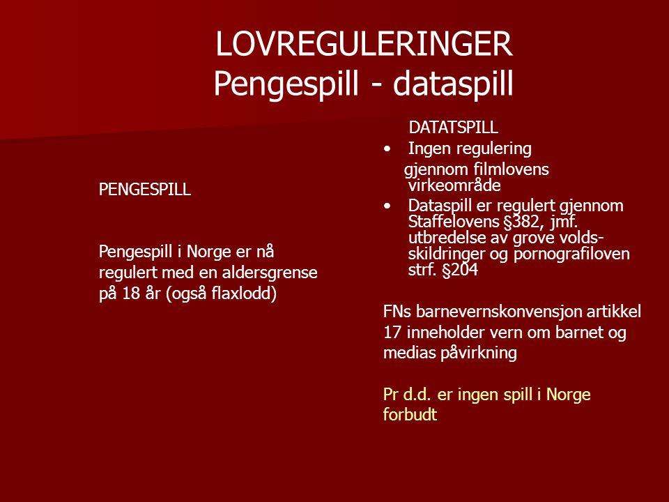 LOVREGULERINGER Pengespill - dataspill PENGESPILL Pengespill i Norge er nå regulert med en aldersgrense på 18 år (også flaxlodd) DATATSPILL •Ingen regulering gjennom filmlovens virkeområde •Dataspill er regulert gjennom Staffelovens §382, jmf.