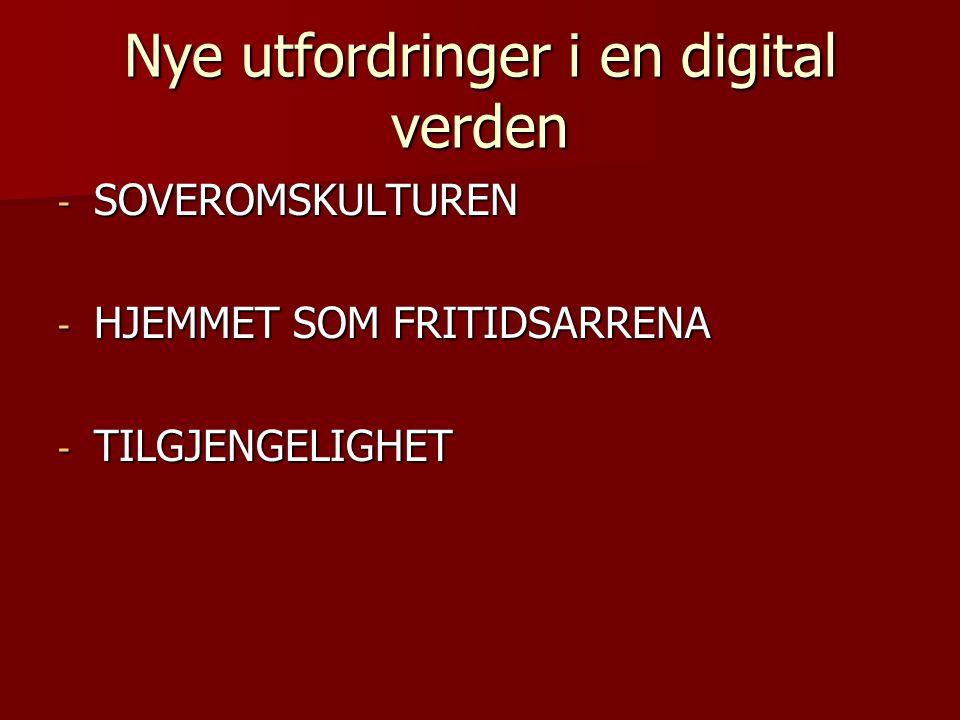 Nye utfordringer i en digital verden - SOVEROMSKULTUREN - HJEMMET SOM FRITIDSARRENA - TILGJENGELIGHET