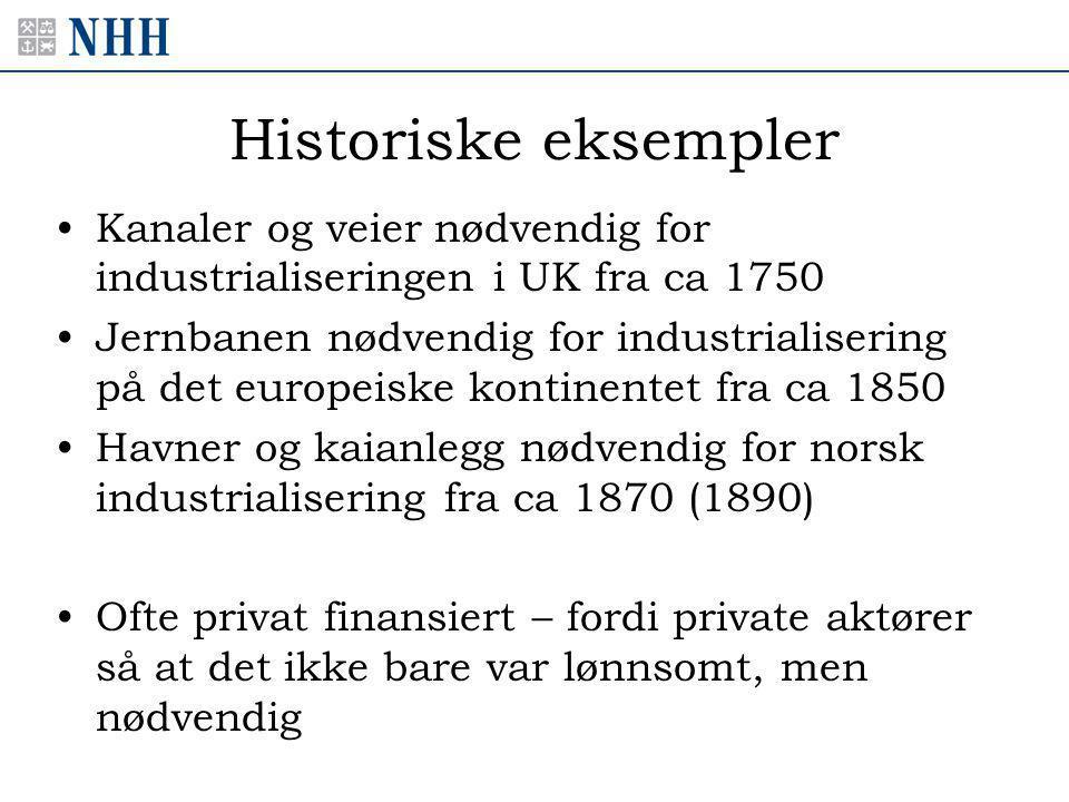 Historiske eksempler •Kanaler og veier nødvendig for industrialiseringen i UK fra ca 1750 •Jernbanen nødvendig for industrialisering på det europeiske