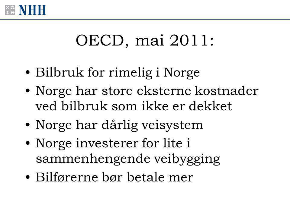 OECD, mai 2011: •Bilbruk for rimelig i Norge •Norge har store eksterne kostnader ved bilbruk som ikke er dekket •Norge har dårlig veisystem •Norge investerer for lite i sammenhengende veibygging •Bilførerne bør betale mer