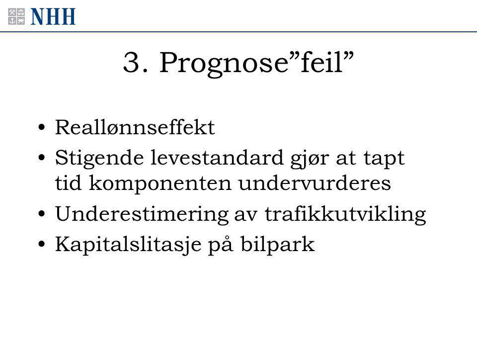 """3. Prognose""""feil"""" •Reallønnseffekt •Stigende levestandard gjør at tapt tid komponenten undervurderes •Underestimering av trafikkutvikling •Kapitalslit"""