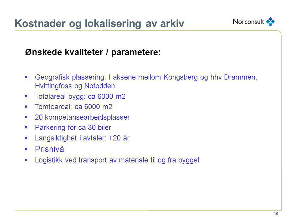 10 Kostnader og lokalisering av arkiv Ønskede kvaliteter / parametere:  Geografisk plassering: I aksene mellom Kongsberg og hhv Drammen, Hvittingfoss