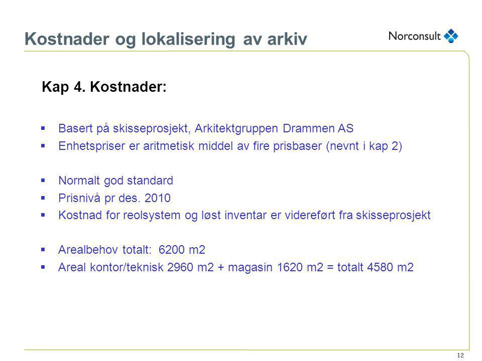 12 Kostnader og lokalisering av arkiv Kap 4. Kostnader:  Basert på skisseprosjekt, Arkitektgruppen Drammen AS  Enhetspriser er aritmetisk middel av